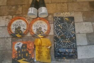 Halloween Party Supply spider web haunted house Plates Cups service for 16