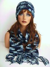 BLUE MULTI COLOR HAND CROCHET HAT AND SCARF SET HAND MADE BEANIE CLOCHE BOHO
