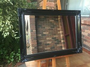 Classic French Provincial Style Mirror Black Ornate Timber Frame 90x65cm