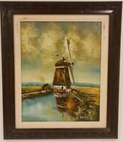 """Oil Painting on Canvas Landscape with River Signed Framed Art  (27"""" x 23"""")"""