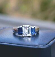 3 Ct Emerald Cut Blue Saphhire Diamond Women's Wedding Ring 14K White Gold Over