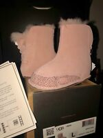 """UGG AUSTRALIA I BOO infant Toddler  SIZE L 6-7 18-24 insoles 5.5"""" Hand painted"""