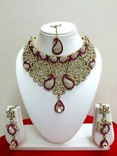 Indian Bollywood Style Gold Plated Pink Fashion Bridal Jewelry Necklace Set