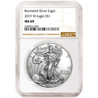 2019-W Burnished $1 American Silver Eagle NGC MS69 Brown Label