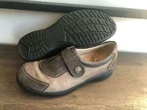 Finn Comfort Taupe Leather Strap Slip on Shoes sz UK 5/US 7-7.5
