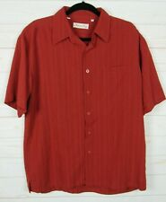 Milano Bay Mens Short Sleeve Red Button Up Shirt Size M  W1698