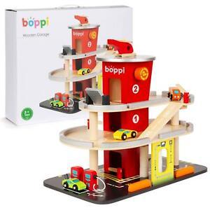 boppi Wooden Toy Garage Carpark Petrol Station 3 Cars Helicopter Lift & Car Wash