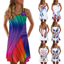 Women Summer Vintage Beach Sleeveless 3D Floral Print Bohe Tank Short Mini Dress