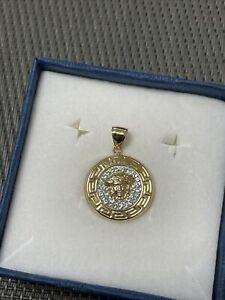 Echt Gold 750 Anhänger Versace Medusa Schmuck Diamantiert Diamanten Gelbgold