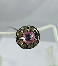 Antique Hat Pin Jeweled Paste Rhinestones & Center Light Pink Stone