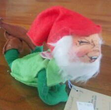 Annalee Santa'S Elf ~7367 Lying Down, Smile, Green, Red, Vintage 1991 Christmas
