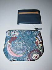 BUXTON TEAL FLORAL PAISLEY PIK-ME-UP PLEATED PEBBLE FAUX LEATHER COIN POUCH