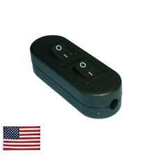 US Ship Double ON OFF Button Plastic Housing In-Line Cord Switch AC 110V-220V 2A