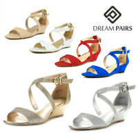 DREAM PAIRS Womens Ankle Strap Low Wedge Sandals Open Toe Summer Dress Shoes