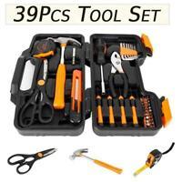 Portable Orange 39 Piece Tool Set General Household Hand Tool Kit w/ Black Case