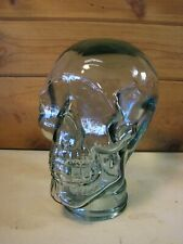 San Miguel Life Size Human Skull Decor Heavy Glass Clear Hat Headphones Holder