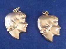 Vintage Pair 1/20 12k Gold Filled Ladies Girls Silhouette Head Charms 3D Detail