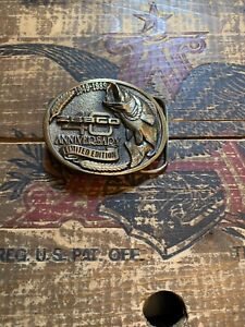 1989  Zebco 40th Anniversary Brass Belt Buckle by Great American Buckle Co.