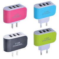 3.1A 3 USB Ports Wall Home Travel AC Charger Adapter US/EU Plug For iPhone X/8