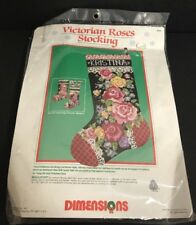 Dimensions 9065 Victorian Roses Christmas Stocking Needlepoint Kit wool yarn