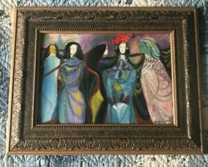 Mystery 5 Sisters Oil on Plywood Signed Marino