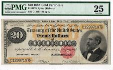 $20 1882 Gold Certificate FR#1178. PMG-25