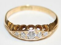 Ladies Antique 18ct Gold 5 Stone Diamond Boat Shape Ring Circa 1905/06