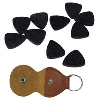 Guitar Pick Holder Bag Package Case w/ 10x Black Wool Felt Ukulele Plectrum