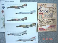 "RF/F-4C/E/B/D/K PHANTOM ""6 USN/USAF/IRAN/RAAF/ROYAL NAVY"" ESCI DECALS 1/72"