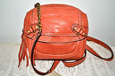 NWT $358 ABACO Paris Lambskin Leather Crossbody HIp Bag Brick Red Brown