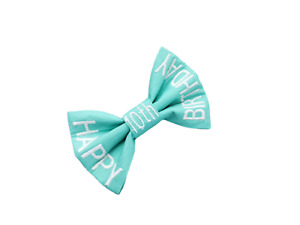 Personalised Dog Cat Bow Tie - Mint Green 'Happy *Any* Birthday - 5 sizes