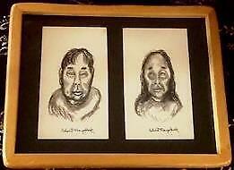 Framed 2 Original Ink Portrait Drawings by Inuit Eskimo Artist - ROBERT MAYOKOK
