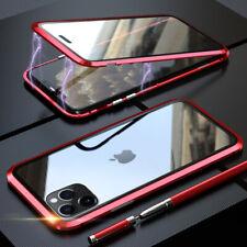 Adsorción magnética 360 ° Funda trasera de cristal templado de Metal para Teléfono Inteligente