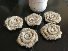 """Set of 5 Burlap and Lace Flowers Small 2"""" Rustic Wedding Cake Top Table Decor"""