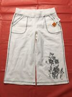 LA Blues Activewear Capri Pants Size Small White Floral Print Cotton Pull On NWT