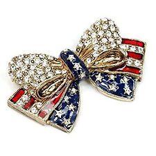 "Sweet Romance USA American Flag Bow Pin, Flag Brooch Enamel  2"" Wide x 1.25 Tall"