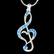w Swarovski Crystal Royal Blue ~TREBLE G CLEF MUSIC MUSICAL NOTE Heart~ Necklace