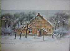 Hans-Albert dithmer (1903-1992,hh) F Acquerello immagine dello stage: fattoria nella neve