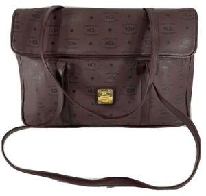 HCL Authentic Burgundy Leather Business Tote Shoulder Satchel Bag