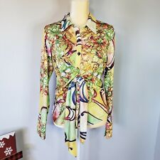 Boho Chic Floral blouse, Sz L , front tie slant collar Groovy Print long sleeve