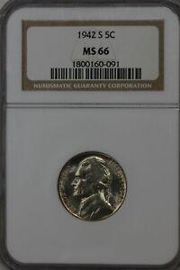 1942-S 5C NGC MS66   Jefferson Silver Nickel