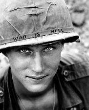 "U.S. Soldier with ""War is Hell"" Helmet 8""x 10"" Vietnam War Photo Picture #24"