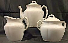 Antique 1890 W. H. GRINDLEY Semi-Porcelain Ironstone Tea Set Pot Sugar Creamer