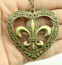 Vintage Antique  Fleur de lis heart bronze color  pendant 58*57mm necklace