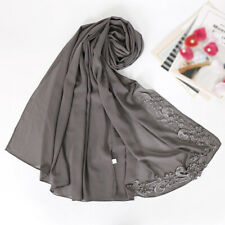 Women's Lace Floral Hijab Scarf Plain Chiffon Wraps Beads Shawls Muslim Scarves