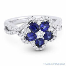 White Gold Right-Hand Flower Cocktail Ring 1.64ct Blue Sapphire Diamond Pave 18k
