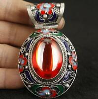 SUPER RARE CHINA SILVER OLD INLAY ZIRCON CLOISONNE COLLECT HAND CARVED PENDANT