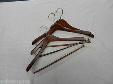 """10 Solid Wood Suit Hangers with Pants Bar 19"""" & 17"""" Cherry Color Retail $120"""
