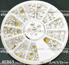 #ER63 Nail Art Decoration 4 Sizes Sharp Bottom Clear White Glitter Rhinestones