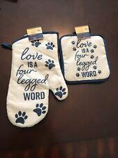 New listing Dog Lover Kitchen Set: Love is a Four Legged Work Oven Mitt Set
